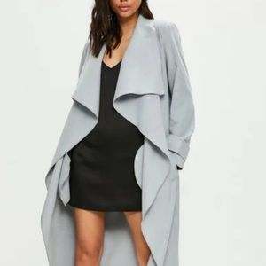 Missguided | Gray Waterfall Duster Trench Size 0